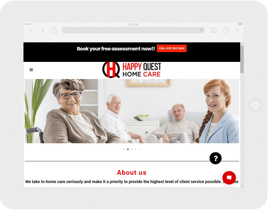 Screen capture of a home health care website