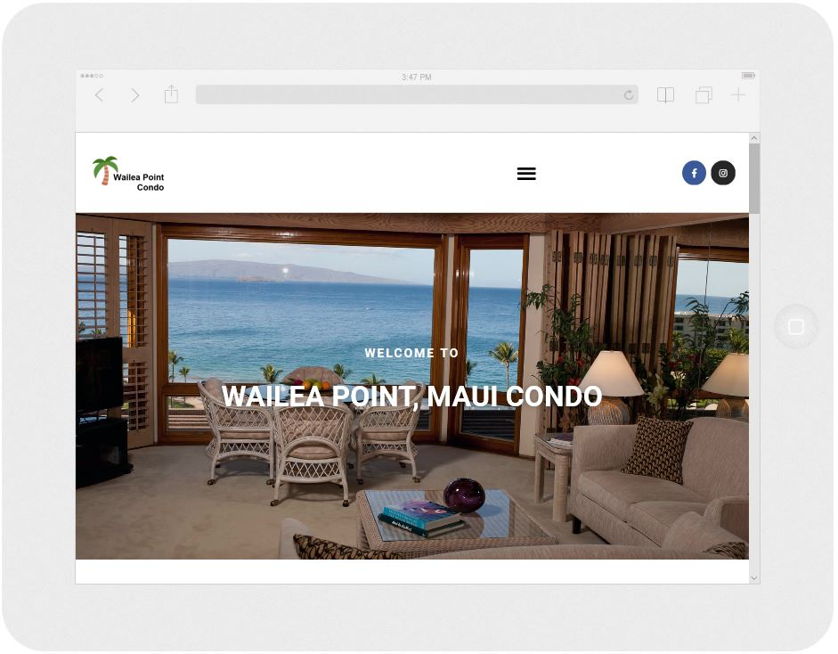 Screen capture of a Maui condo rental website